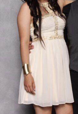 Short cream prom dress