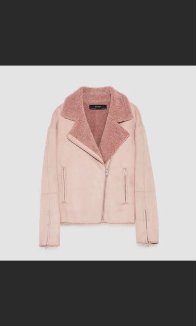 zara pink Faux Suede Moto Jacket jacket 99%new