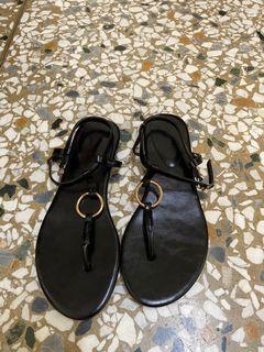 韓國金屬圓釦平底夾腳涼鞋#24.5