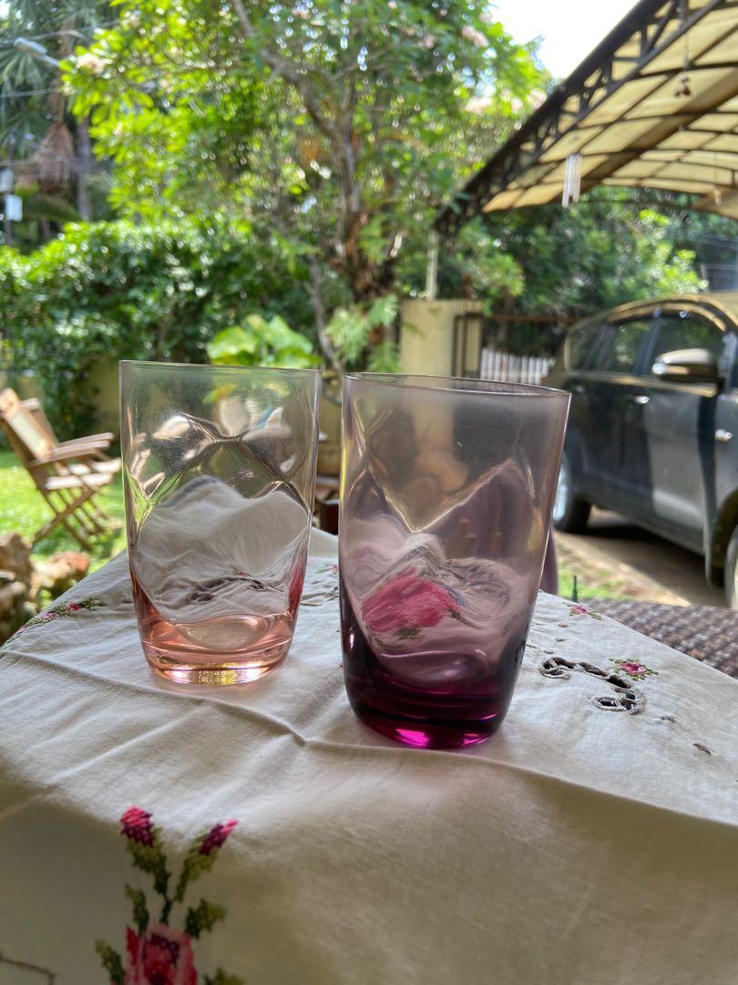2 gelas kristal jadul