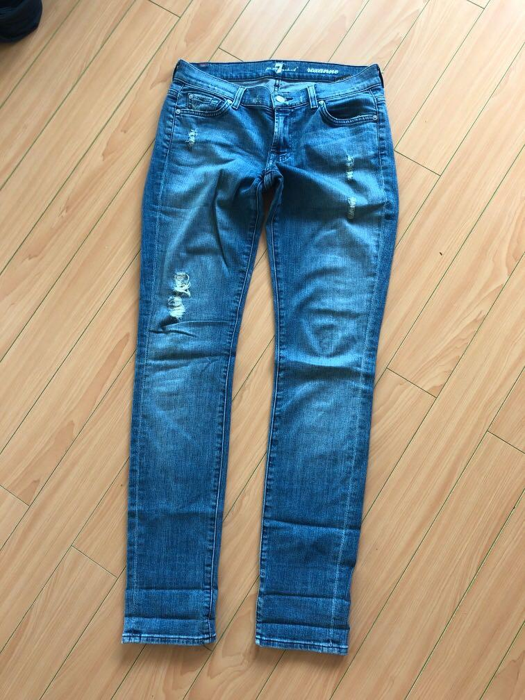 7 For All Mankind Roxanne Light Distressed Skinny Jeans, size 27