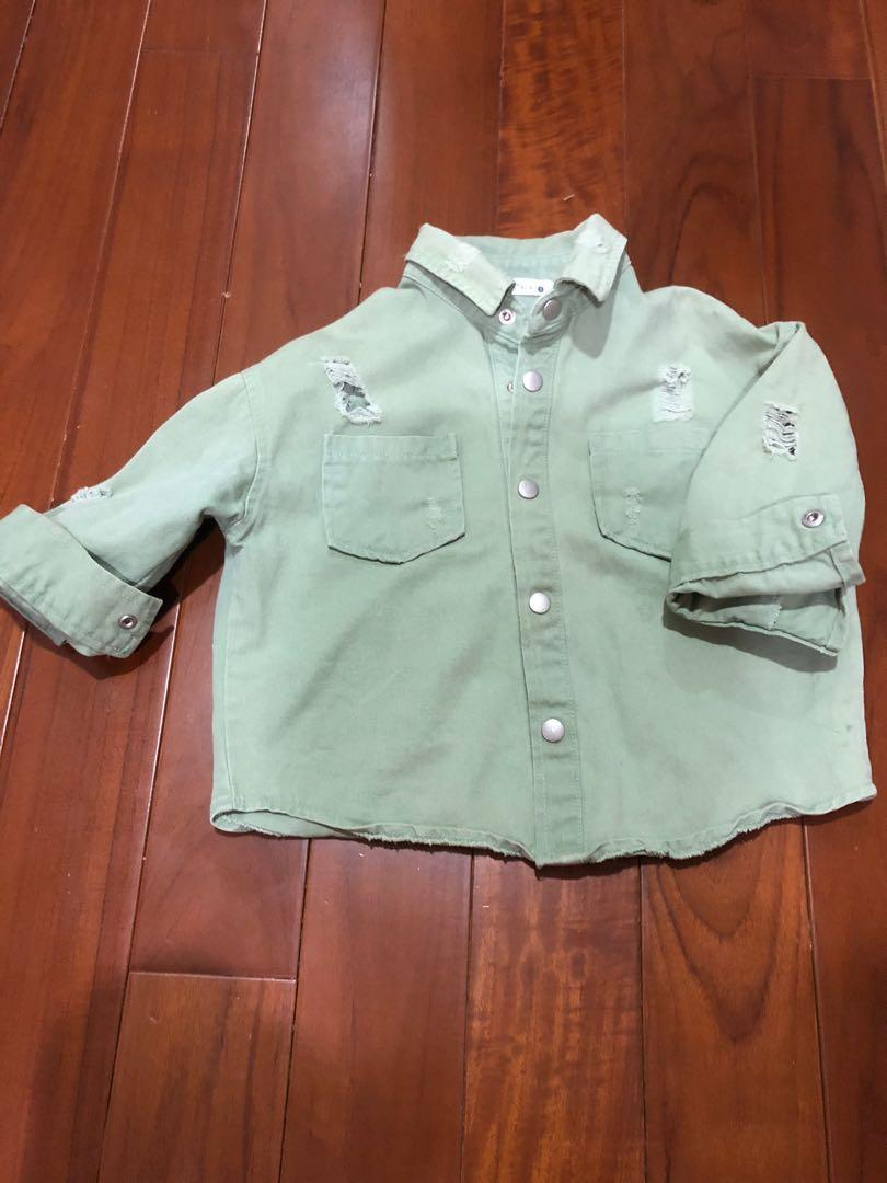 韓國 復古綠 刷破 個性 外套 軍裝外套 5號