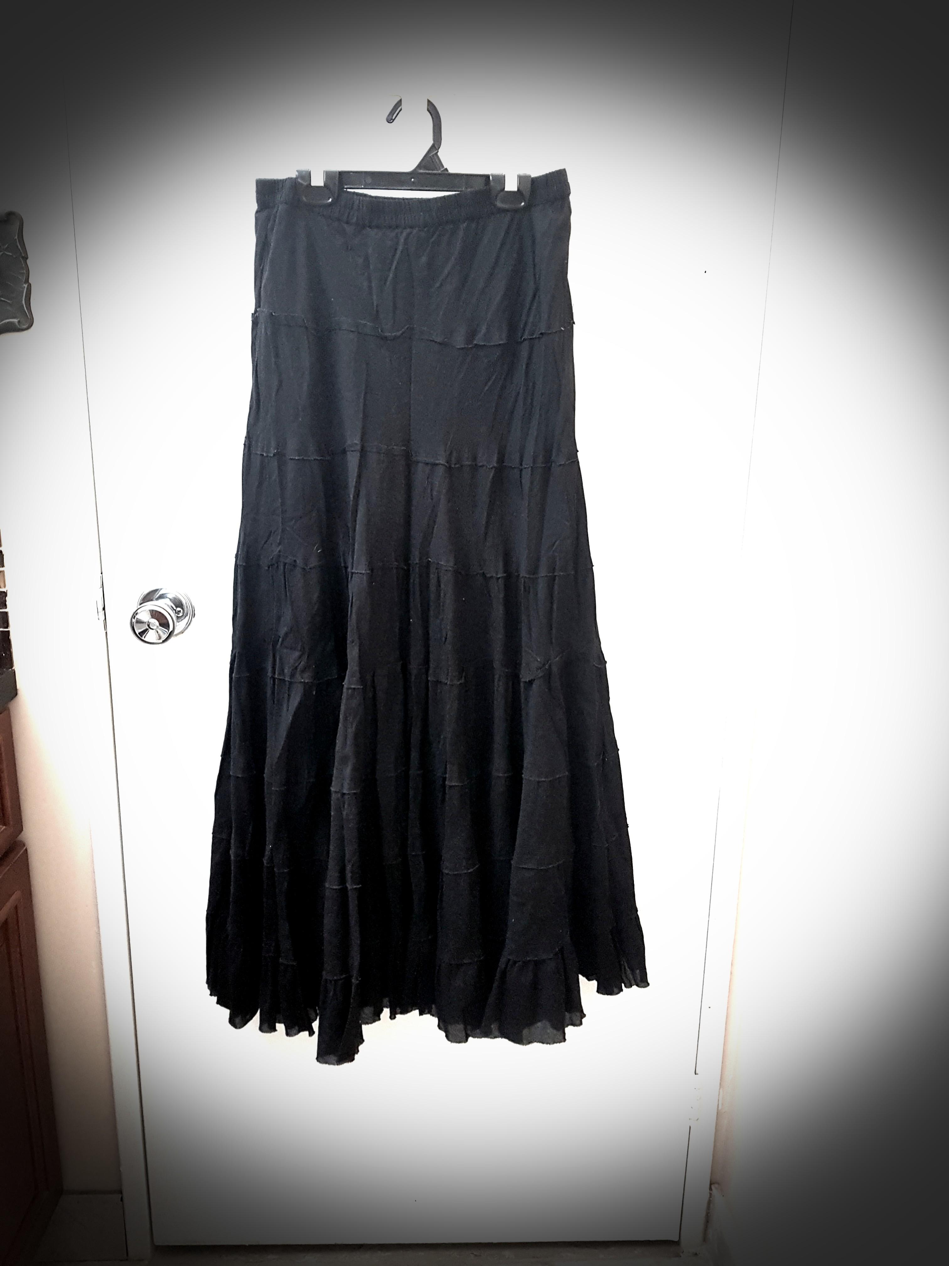 Black linen gypsy skirt