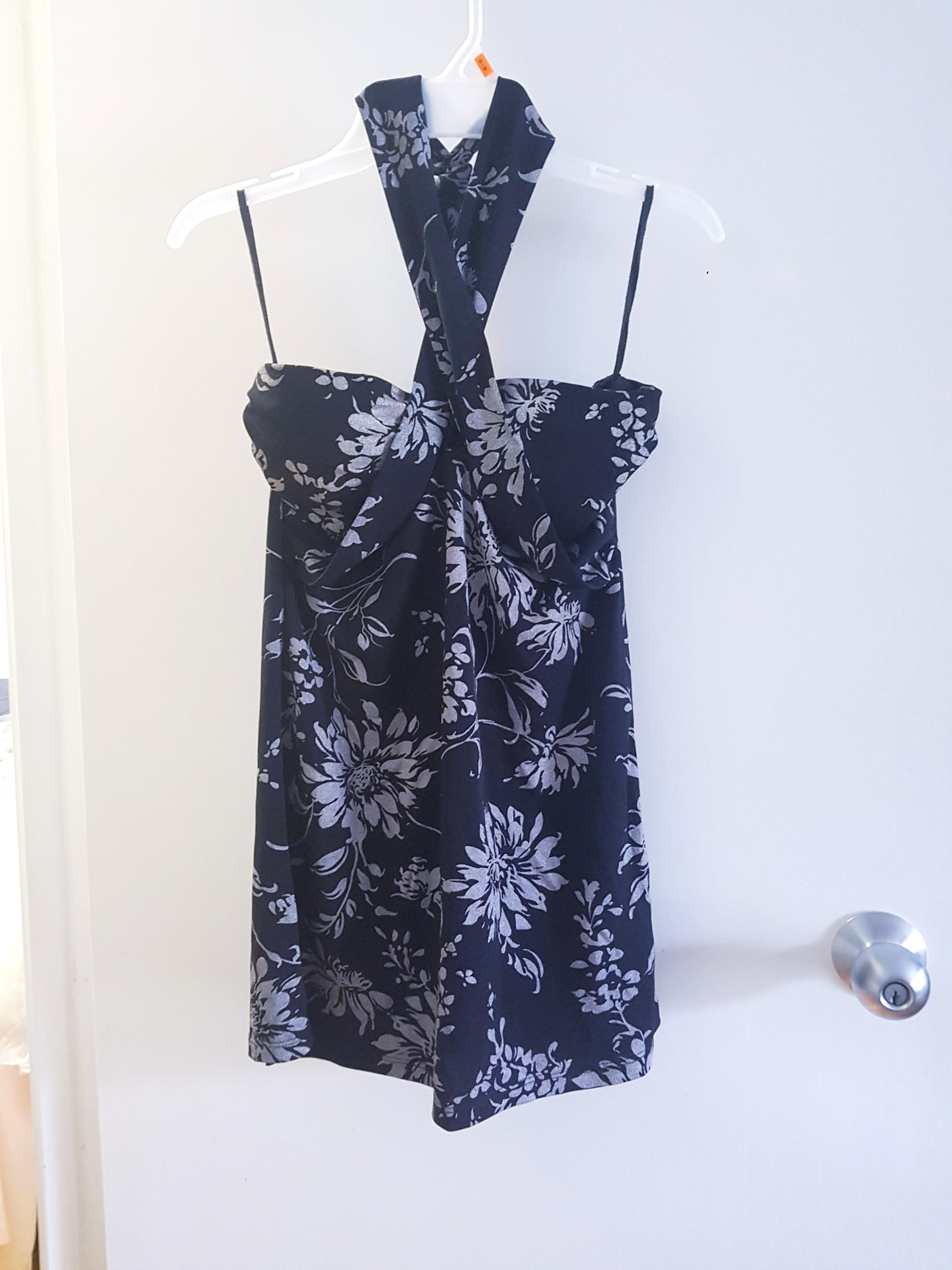 BNWT Black and Silver halter top