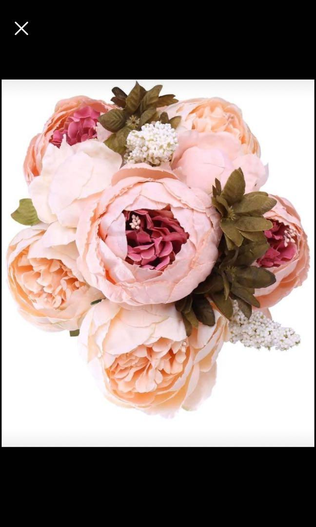 Brand new Fake Peony Bouquet Silk Roses Wedding Decoration Spring Simulation Flowers (Light Pink)