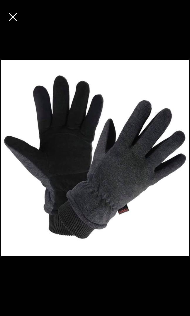 Brand new Winter Gloves Water Resistant Deerskin Suede Leather Thermal Glove Insulated (L)