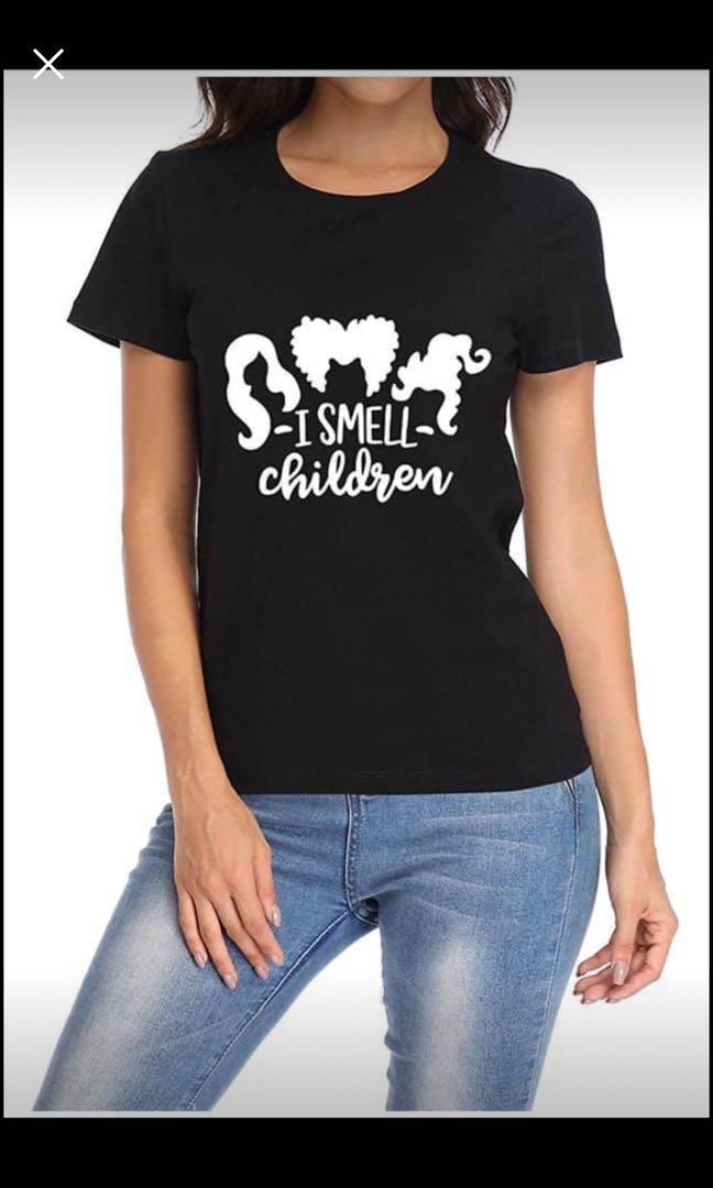 Brand new Womens Funny Halloween Hocus Pocus T Shirt-I Smeel Children Casual Cotton Short Sleeve(S)