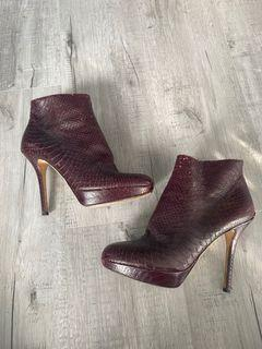 Dior Burgundy snakeskin ankle boots