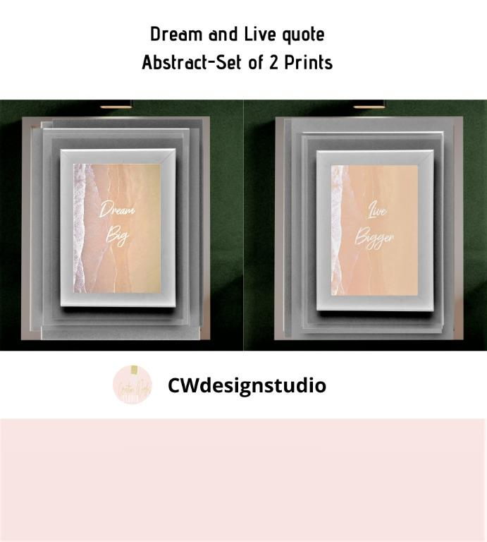 Dream and Live Quote Abstract, Set of 2 Prints, Printable Digital File, Text, Wall Art Print and Decor