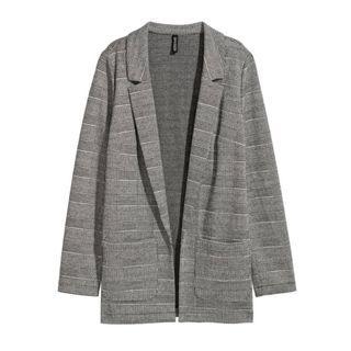 H&M Plaid Jersey Blazer