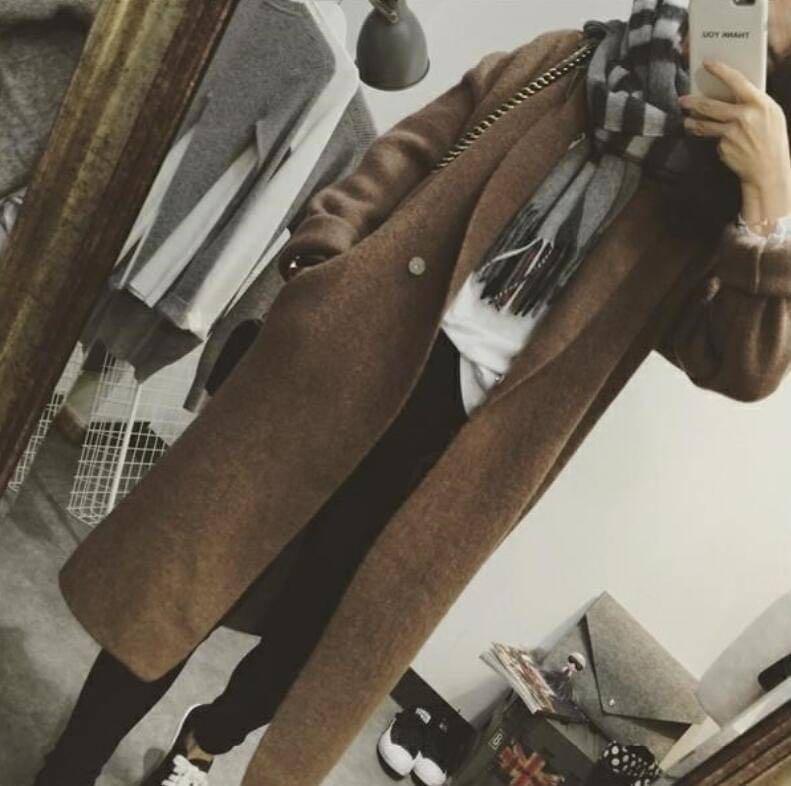 KB-1005-022 ❤️韓國🇰🇷代購—氣質翻領修身顯瘦羊毛針織外套大衣