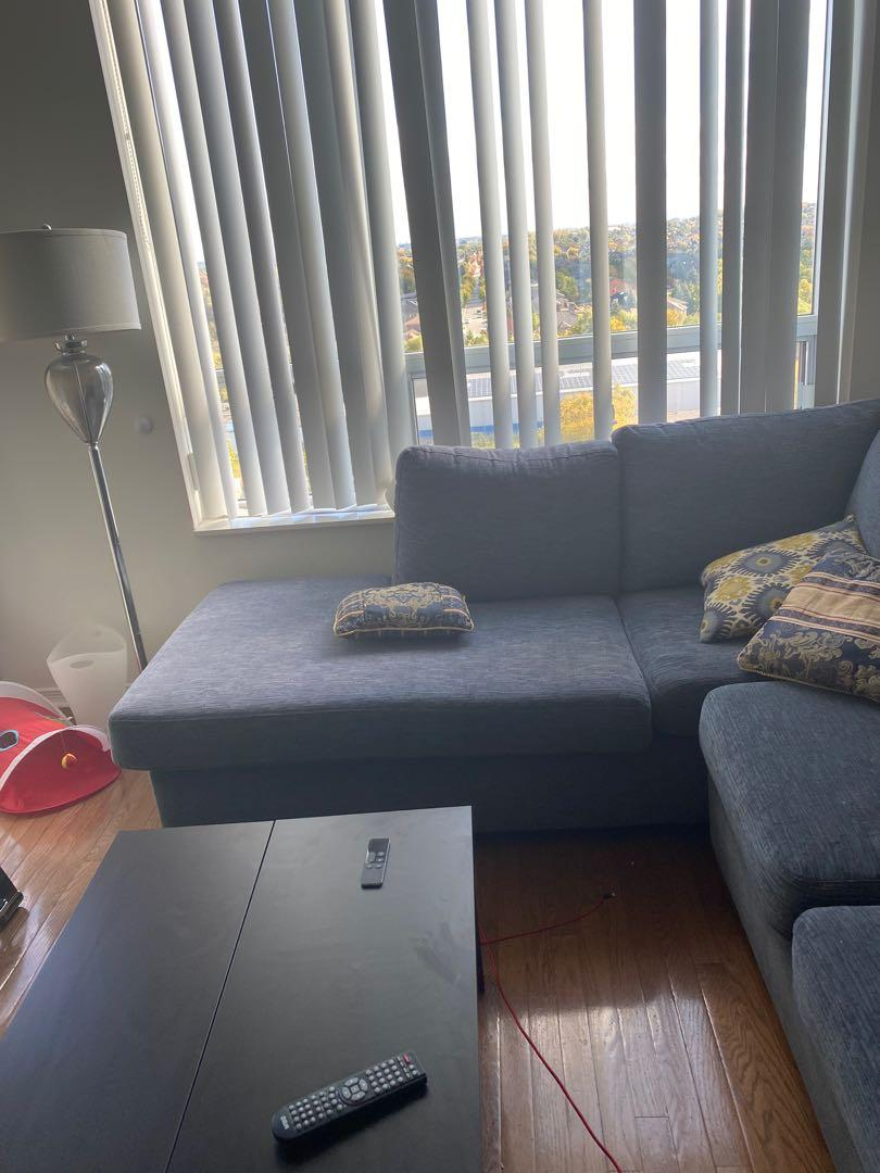 Large Sectional couch + ottoman + storage bench + decorative cushions