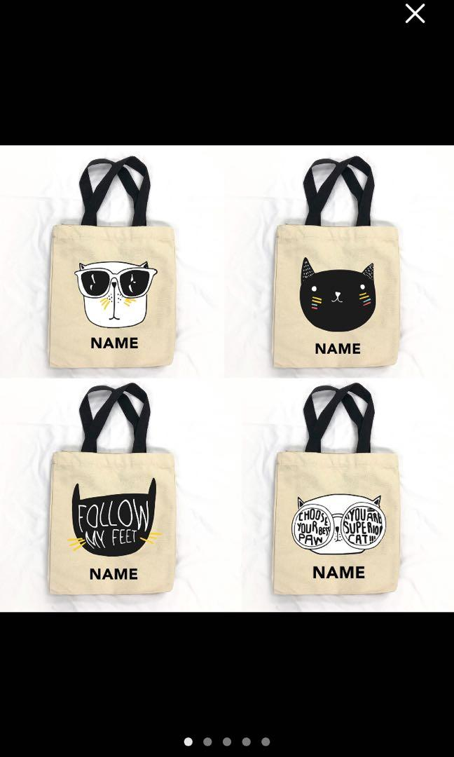 Personalized Cat Tote Bags