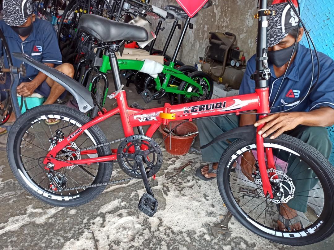"""Sepeda Lipat Keruiqi 20"""" Red 7 speed Bisa cash/kredit DP 100 ribuan"""