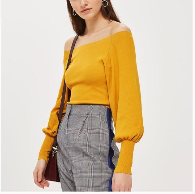 yellow off-the-shoulder sweater/top