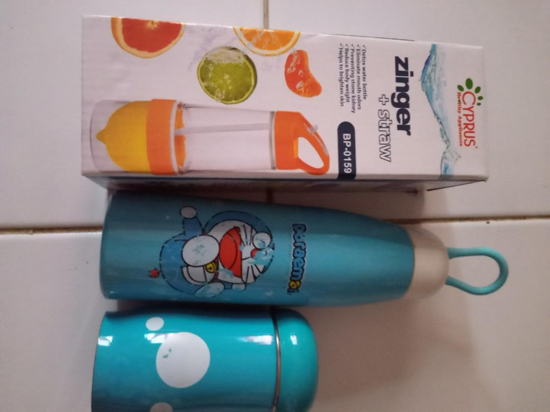Zinger + sedotan new + termos Doraemon+ 1 botol mini