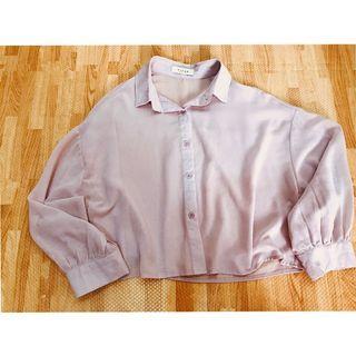 (二手極新)淺紫開釦雪紡衫