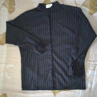 莎郎黑❤️小立領直條紋排扣長袖襯衫 #剁手價