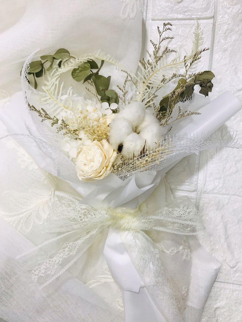 純白愛花束 永生乾燥花