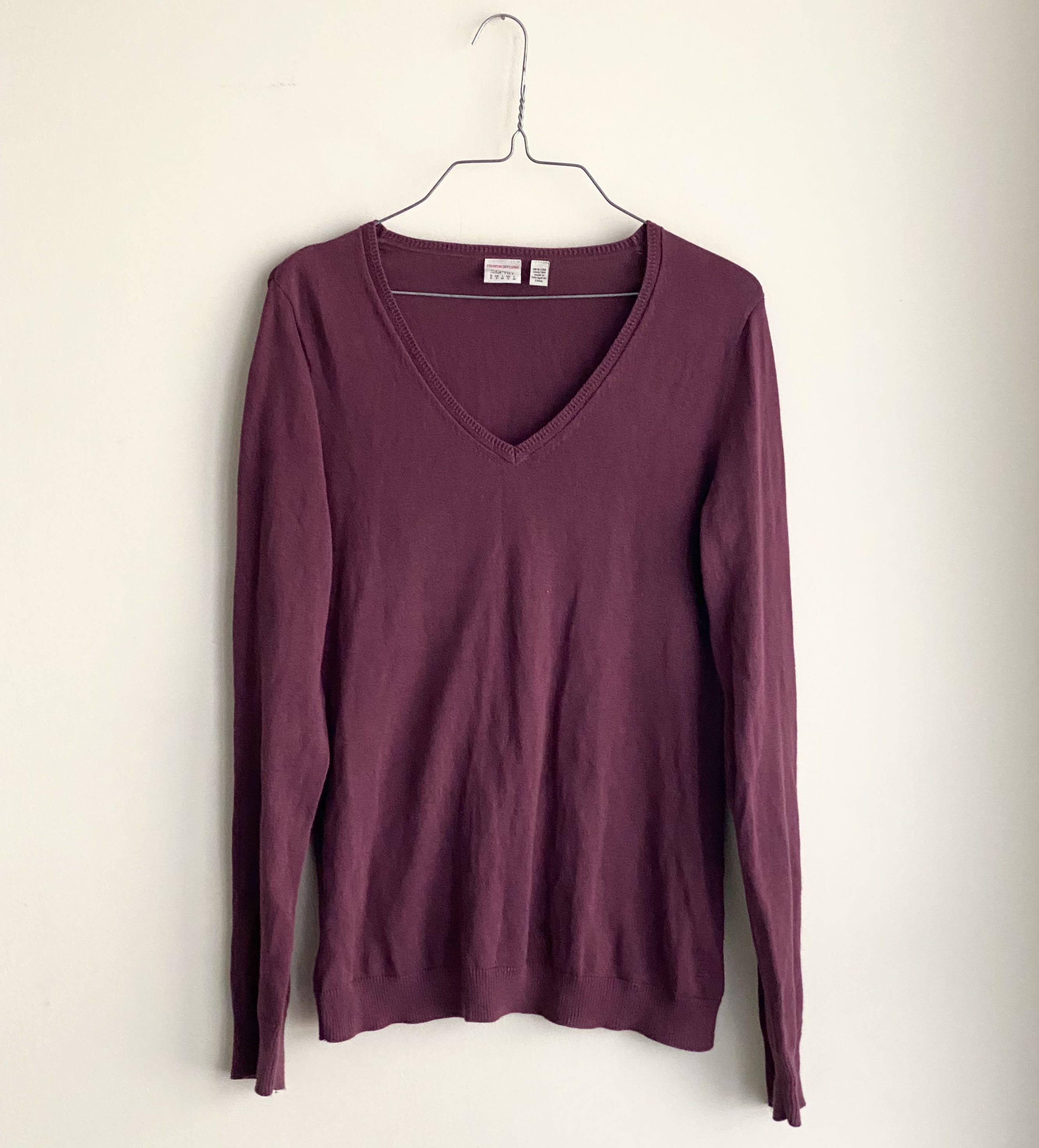 BRAND NEW ESPRIT MAROON V NECK LONG SLEEVE