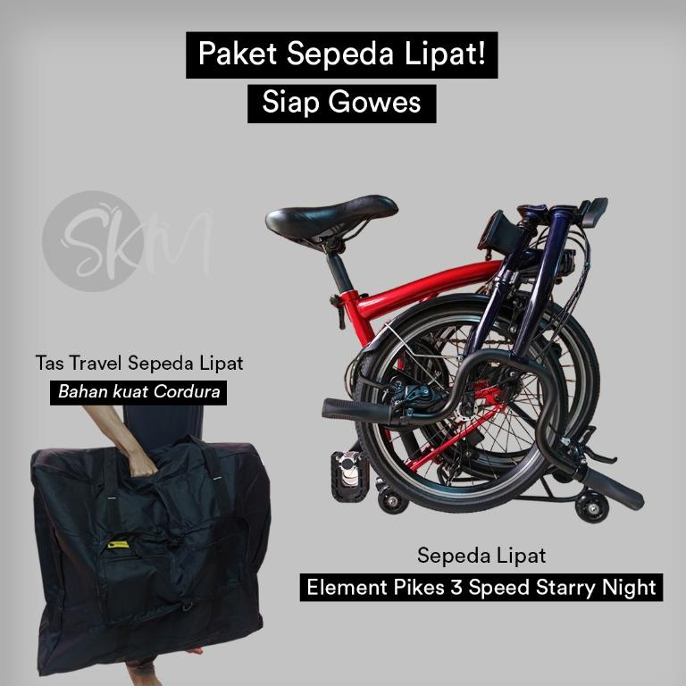 Element Pikes 3 Speed Starry Night Edition mirip Brompton Nine Streets Edition