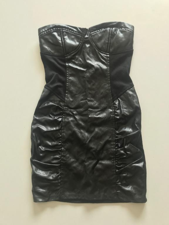 Forever 21 Strapless Pleather Dress Size Small