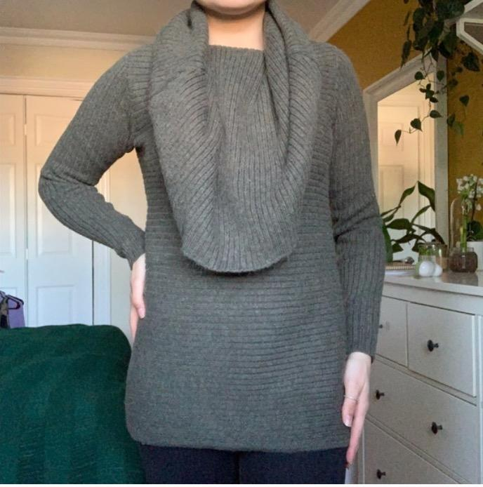 green oversized turtleneck sweater