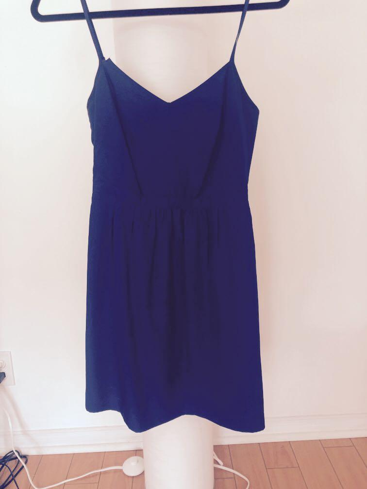 J Crew Blue Dress, Thin Strips, Size 0