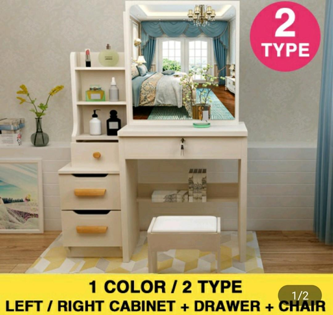 Makeup Dressing Table With Mirror And Cabinet Drawer Free 1 Chair 2 Colors Diy Self Assemble Furniture Shelves Drawers On Carousell