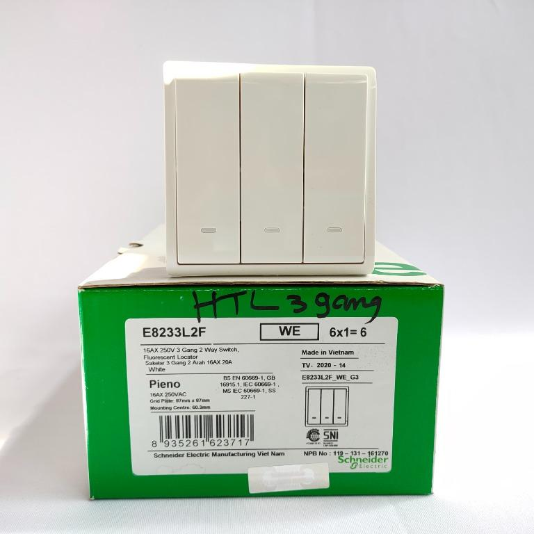 Pieno Schneider Saklar Hotel 3 Gang 2 Way Switch