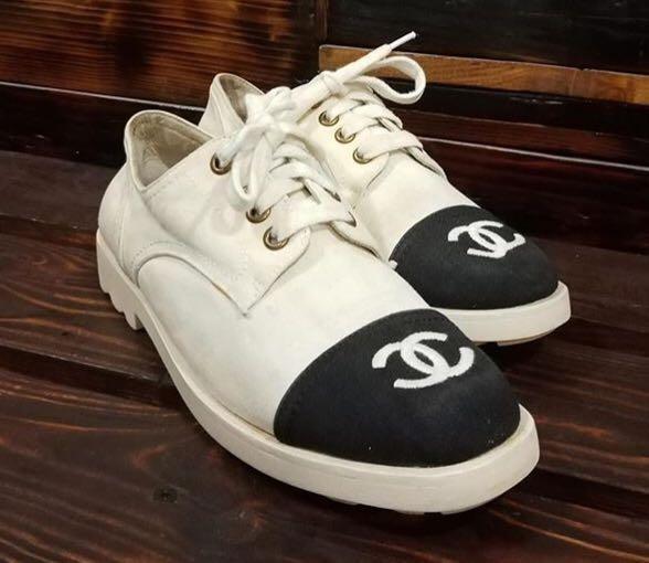 Preloved Chanel Cc Logo Oxford Sneaker