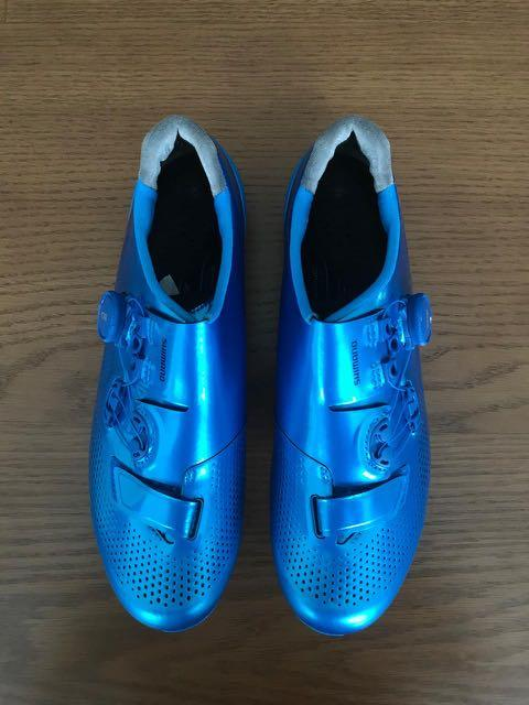 Sepatu Cleat Road Bike SHIMANO RC9T SH-RC901T Blue Size 43  (No Cleat)