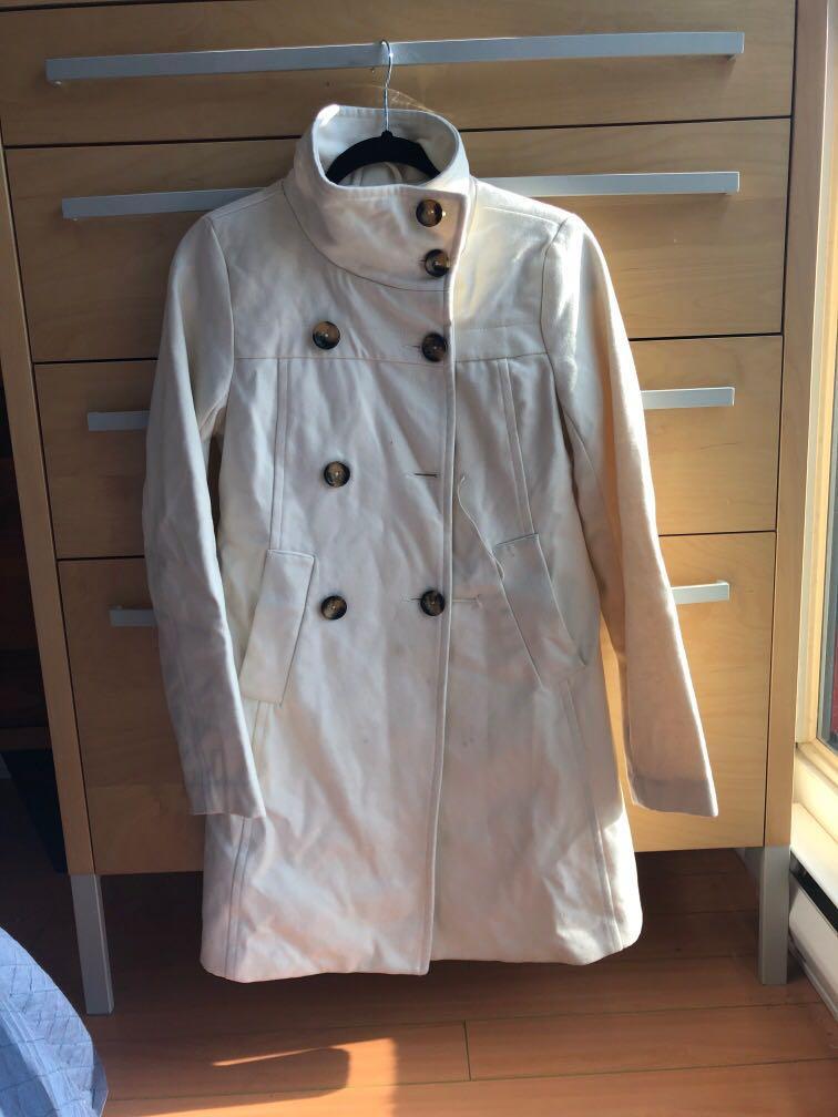 White/ Cream Peacoat, 60% wool, size XS