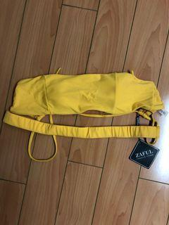 ZAFUL Tie Back Bandeau Bikini Top - Bright Yellow S