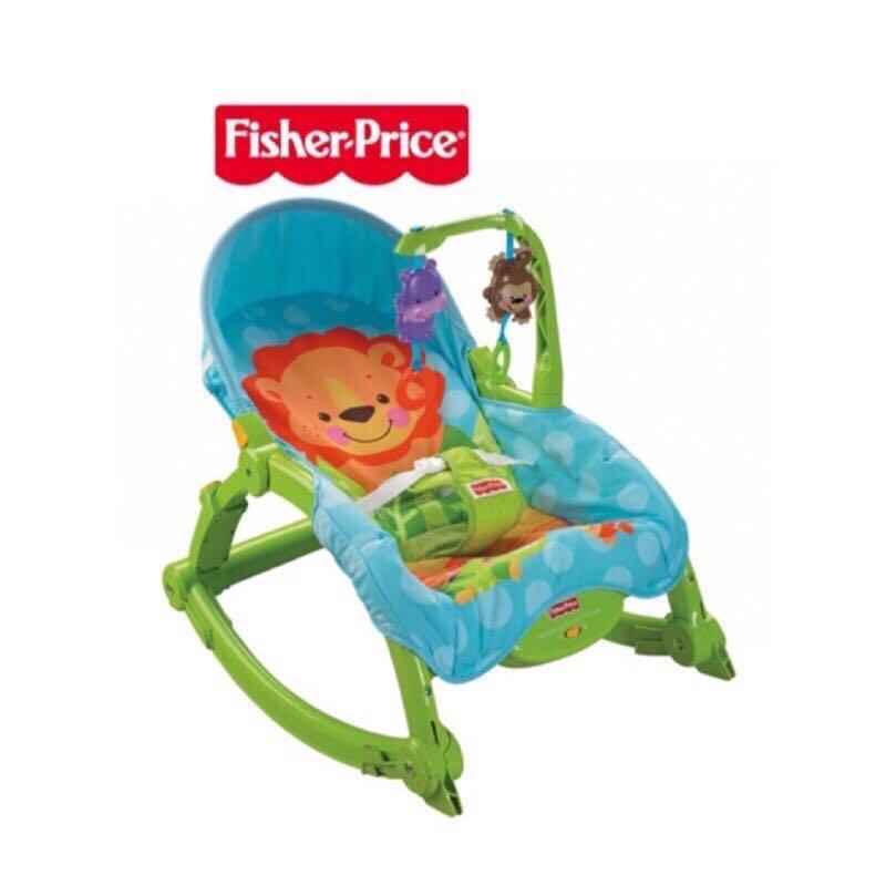 二手。費雪牌 Fisher-Price 可愛動物可攜式兩用安撫躺椅