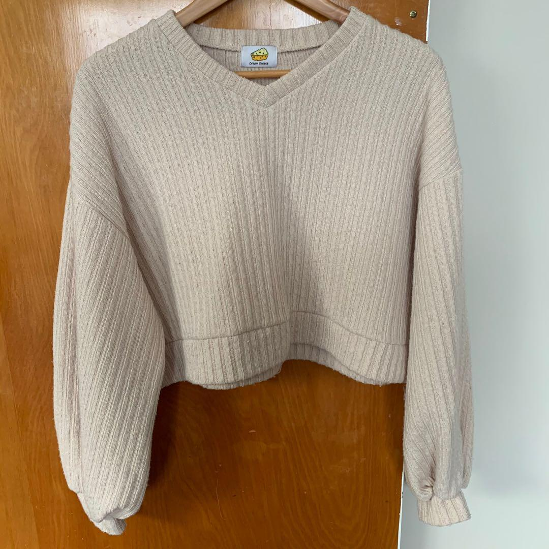 Balloon sleeved Beige Cropped Knit