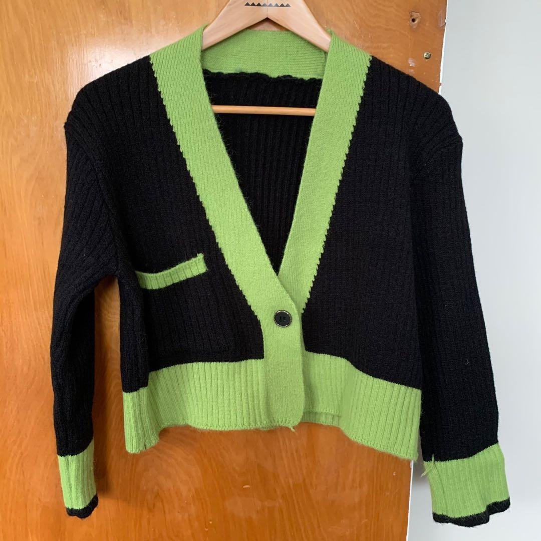 Black and Green Knit Cardigan