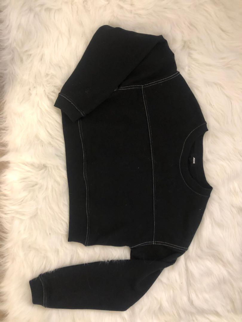 Black long sleeve crop with detailed white stitching