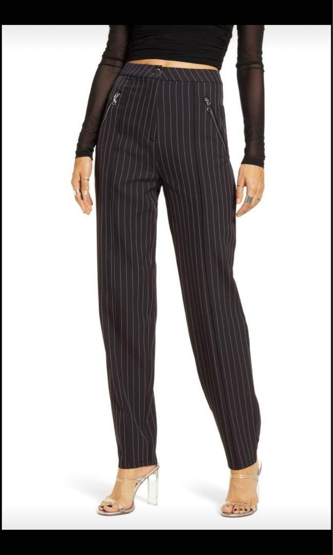 Black Pinstriped Pants - Tiger Mist