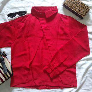blouse red elegant h&m pull and bear zara pomelo mango
