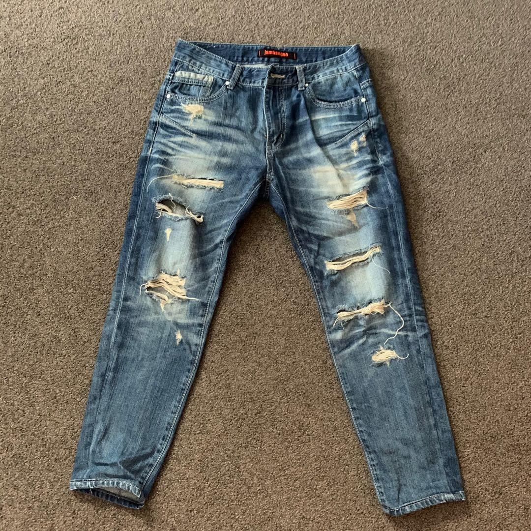 Blue Denim Washed Ripped Jeans