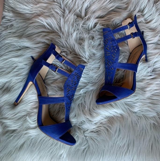 blue strappy stilettos (size 7)
