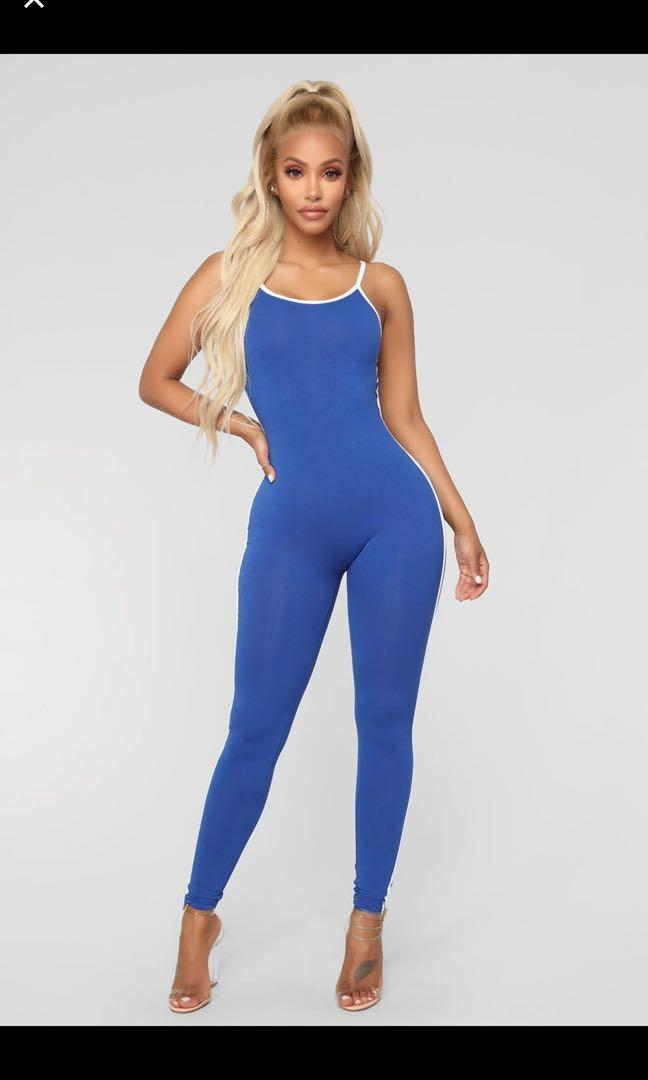 Fashion Nova Post Gym Selfie Jumpsuit - Royal