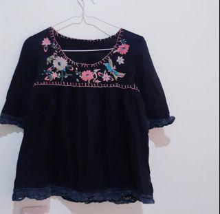 Floral Embroidered Black Top