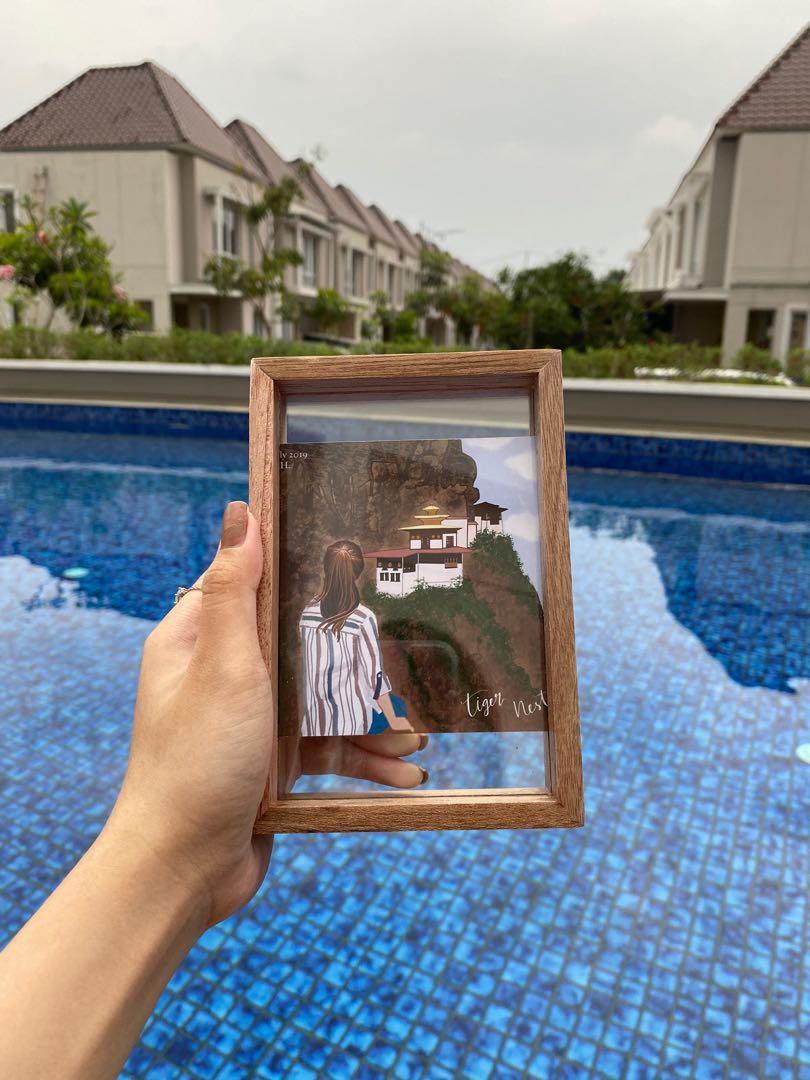 frame digital art jasa ilustrasi sketsa hadiah kado ulang tahun wisuda souvenir