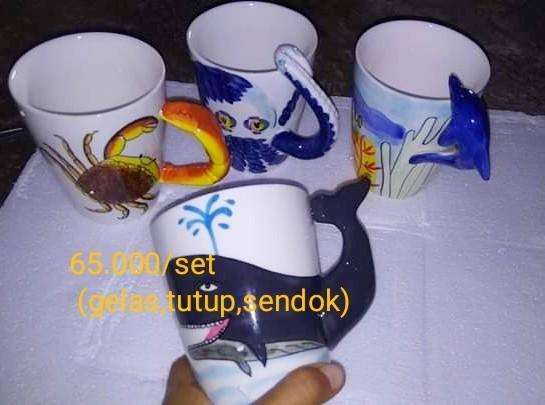 Gelas keramik marine serries gambar binatang air laut