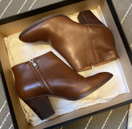 J. CREW - Ankle Laine Boots in Chester Brown