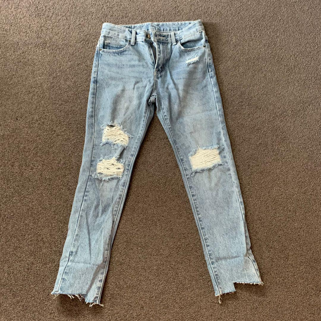 Light Blue Denim Washed Ripped Jeans