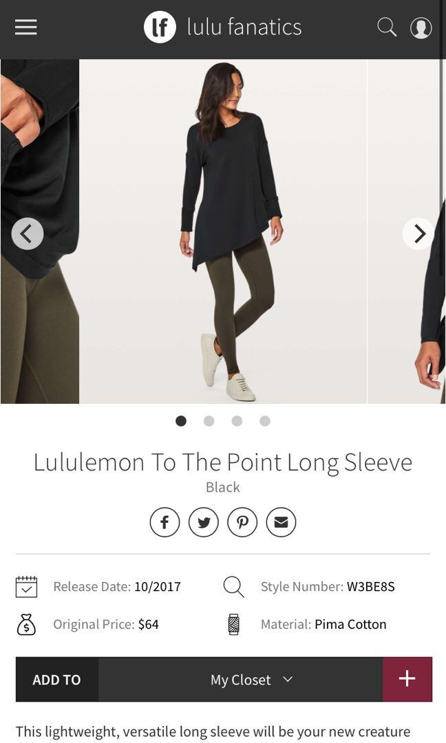 Lululemon to the point long sleeves size 4