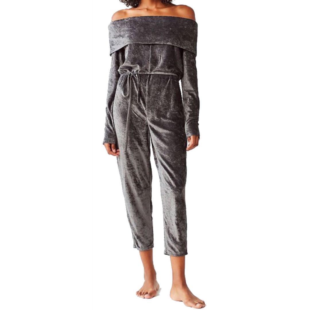 Luxe Velour Off The Shoulder Jumpsuit